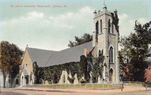 QUINCY ILLINOIS~ST JOHN'S CATHEDRAL EPISCOPAL POSTCARD 1910s