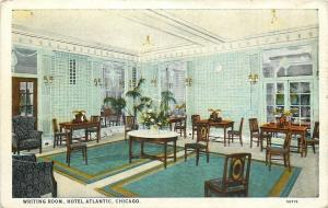 Chicago Illinois~Hotel Atlantic Interior~Mint Green & White Writing Room~1920s