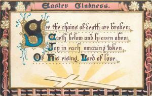 Easter gladness vintage greetings postcard embossed floral frame cross fantasy