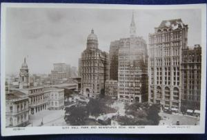 City Hall Park Newspaper Row NYC Real Photo PC Rotary Photo 10781-1 Unposted