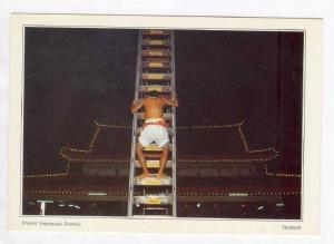 Climbing razor bladed ladder, Phuket Vegetarian Festival, Thailand 60-70s