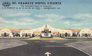 Alabama Montgomery St Francis Hotel Courts 1950 Curteich sk2824