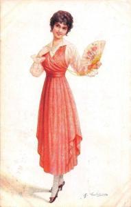 Fashion Lady, Dress, Hand Fan, Feldpost Postcard 1918