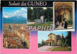 Modern Postcard Panorama Cuneo Santuario Madonna Angels Monumento I Portici
