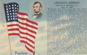 Freedom, American Flag, Lincoln's Address, Delivered at Gettysburg, Pennsylva...