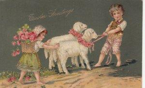 EASTER, PU-1908; Children persuading sheep to walk, Gold detail, PFB 7482