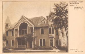 Heron Lake~80-Bed Southwestern Minnesota Hospital~Corner Turrets 1910 Sepia