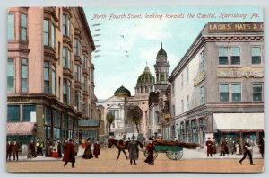 Harrisburg Pennsylvania~North Fourth Street Showing Capitol~Horse & Buggy~1909