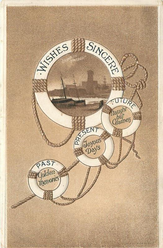 Life Preserver Portal~Ships In Harbor~Past Present Future Wishes~Emb~AA 655/11