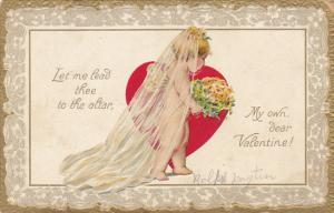 Valentine's Day Young Bride With Red Heart and Flowers Tucks