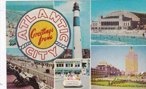 New Jersey Atlantic City Greetings From Showing Boardwalk Lighthouse Rolling ...