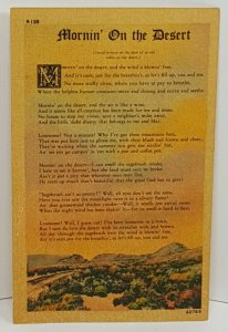 Mornin' on the Desert Poetry Poem Vintage Postcard