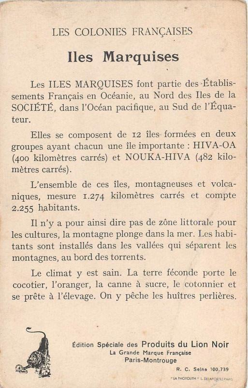 Marquesas Islands French Polynesia french colonies map Lion Noir trade card