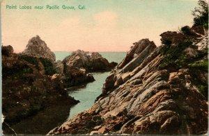Vtg Postcard 1910 Point Lobos Pacific Grove California Hand Colored - M. Reider