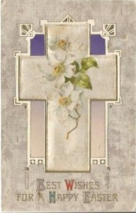 White Silk Cross with White Crab Apple Blossoms Vintage Postcard Easter Greeting