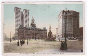 Dime Savings Bank Panorama Detroit Michigan 1913 postcard