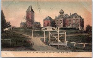 Salem, Oregon Hand-Colored Postcard STATE REFORM SCHOOL Albertype 1907 Cancel