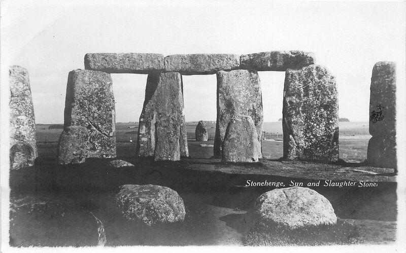 Stonehenge Sun Slaughter Stone 1920s Wilshire UK RPPC Photo Postcard 232