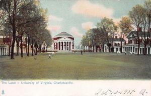 The Lawn, University of Virginia, Charlottesville, VA,, Early Postcard, Unused