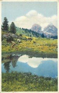 Photochromie postcard alpine scenery Switzerland