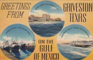 Texas Gainesville Greetings From Showing Harbour Scene Beach Front & Murdoch'...