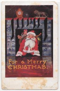 Vintage Postcard For a Merry Christmas Santa Coming Down Chimney Fireplace