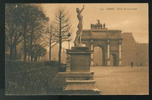 France Place du Carrousel Beautiful Things of Paris PATRAS Sepia Postcard