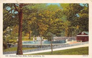 C55/ Lynchburg Virginia Va Postcard 1955 Swimming Pool Miller Park