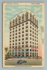1946 Cortez Hotel Cars Miami Florida FL Postcard