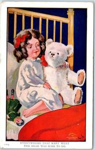 Vintage Artist-Signed Postcard MARY'S BEAR Series #2204 w/ 1911 ME Cancel
