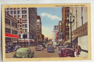 P1031 old linen card woolworth store signs cars 3rd ave scene seattle washington