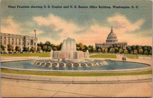Plaza Fountain U.S. Capitol, State Senate Office Washington, D.C. postcard