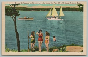 Kentucky~Boating Enthusiasts Swimmers On Lake~Vintage Postcard