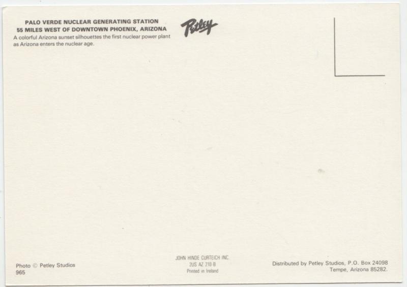 PALO VERDE NUCLEAR GENERATING STATION, ARIZONA, unused Postcard