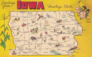 IOWA State Outline, Map, 1930-1950s