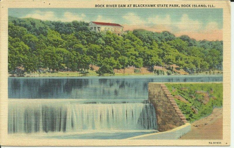 Rock Island, ILL., Rock River Dam at Blackhawk State Park Illinois
