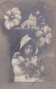 RP;  PU-1910; Greetings, Little Girl & puppy dogs