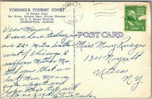 Jacksonville, Illinois Postcard YORDING'S TOURIST COURT Route 36 Roadside Linen
