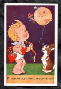 dc327 - VALENTINE'S DAY 1930s Cupid & Bunny. Finland. Artist Arnold Tilgmann