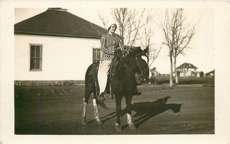 Grace~Pretty Lady Rides Big Horse~Striped Riding Habit~1912 Real Photo~RPPC