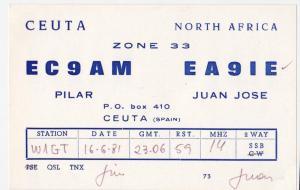 QSL, EA9IE, Ceuta, 1981
