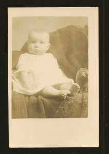 Vintage Baby Sitting on Chair with Stuffed Toy Kruig Portrait Photo Postcard