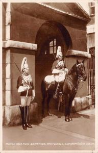 Vintage Real Photo Postcard Horse Guards Sentries Whitehall London by Valentines