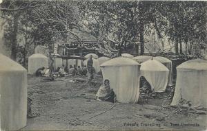 Priests travelling Africa umbrella tents tent