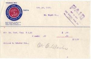 1912 Billhead, THE HINCKS COAL COMPANY, Bangor, Maine