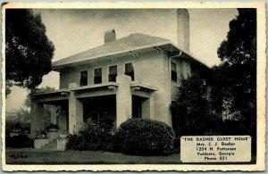 Valdosta, Georgia Postcard THE DASHER GUEST HOME Boarding House c1940s Unused