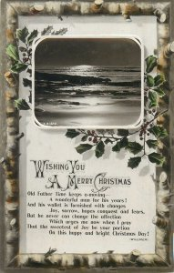 Novelty CHRISTMAS greetings postcard wishes flower sea Tuck leaf winter