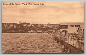 Seneca Lake New York~Geneva Yacht Club~Long Pier~Shoreline Buildings~1911 Sepia