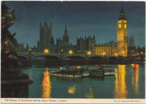 The Houses of Parliament and the River Thames, London, 1978 used Postcard
