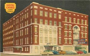 Abernathy Autos Hotel Cairo roadside 1960s Postcard Illinois linen 5372